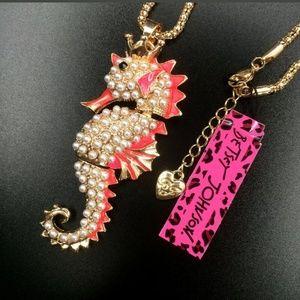 New Betesy Johnson Pink seahorse necklace